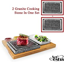 Artestia Double Cooking Stones in One Sizzling Hot Stone Set,Stainless Steel Tray,Bamboo Platter,Ceramic Side Dishes,Deluxe BBQ/Hibachi/Steak Grill (Deluxe Set with Two Stones on One Bamboo Platter)