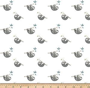 Riley Blake Designs Riley Blake Flannel Joey Sloth Fabric, White