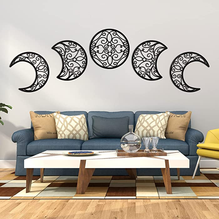 LENCORY 5 Pcs Moon Phase Spiritual Wall Hanging Decor - Bohemian Nordic Wall Style Decoration for Living Room Bedroom - Unique Aesthetic Home Wall Art Decoration - Perfect for Moon Lovers, Black