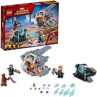 LEGO Super Heroes Aventura tras el arma de Thor, juguete de construcción inspirado en los Vengadores de Marvel, incluye minifiguras de Groot y Rocket (76102)