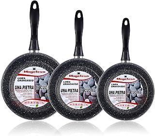 Magefesa K2 Gransasso - Set Juego 3 Sartenes 18-22-28 cm, inducción, Antiadherente Piedra Libre de PFOA, Limpieza lavavajillas Apta para Todas Las cocinas, vitroceramica, Gas, Fabricadas en España