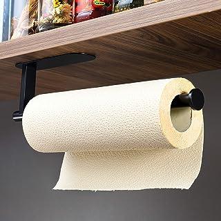 ZUNTO Porte-rouleau de papier essuie-tout adhésif pour cuisine - Sans perçage - Noir