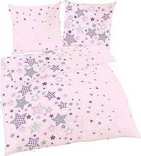 Juego de cama infantil de franela fina con estrellas y estrellas en color rosa, lila y gris, funda nórdica de 135 x 200 cm, 100 % algodón