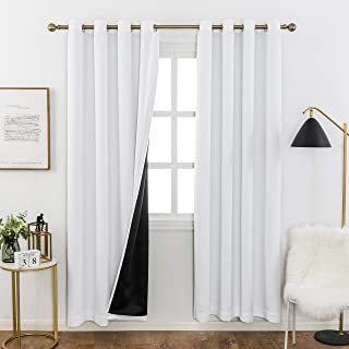 Home Brilliant Blackout Curtains with Black Backing, 2 Thick Layers Completely Blackout Window Treatment Thermal Insulated Drapes for Kitchen Bedroom (White, 1 Pair, 52 x 63 Inches Length Each Panel)