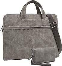 Slim PU Leather Laptop Bag, 15.6 Inch Laptop Carrying Case for MacBook Pro 15 Computer Sleeve, Large Briefcase Handbag for Women Men, Waterproof Messenger Shoulder Bag for 15-15.6in Notebook, Grey