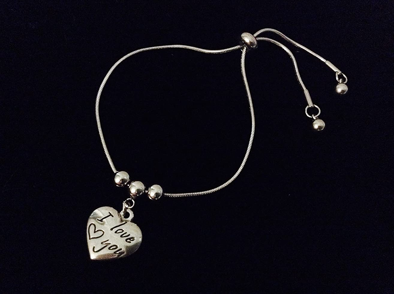I love You Adjustable Bolo Bracelet Stainless Steel Adjustable Bracelet Slider Charm Bracelet Gift One Size Fits All