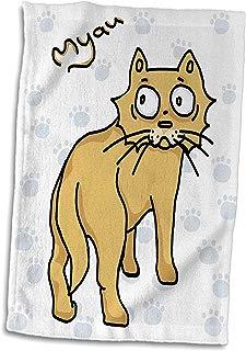 3dRose Warya - Animals. - Ginger Cat Say Meou - 15x22 Hand Towel (TWL_299938_1)