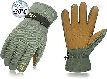 Sciare Circa -30℃ 3M Thinsulate G200 Outdoor Sport Invernali 8//M,Nero,GA8435 Impermeabile e Antivento Guanti da Lavoro Invernali Snow Board Vgo Guanti da Sci
