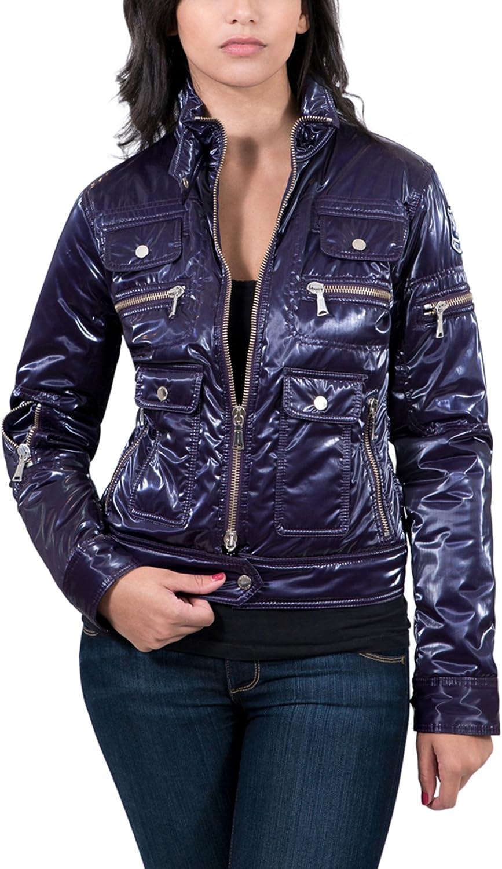 Aureka Prugna Purple Padded Women's Cropped Jacket for womens