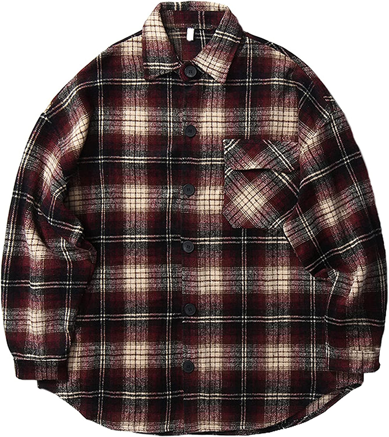 Tanming Men's Retro Washed Flannel Jacket Plaid Lapel Lo Fort Worth Mall Max 54% OFF Shacket