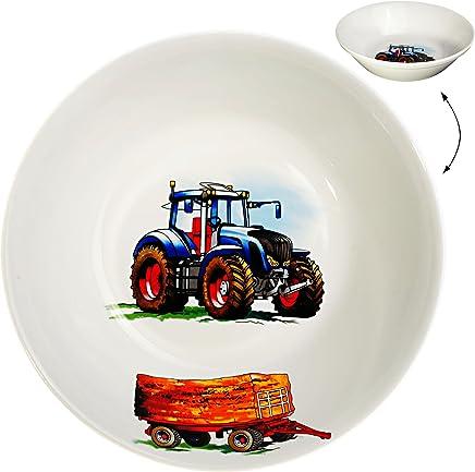 Preisvergleich für Unbekannt großer Suppenteller / Müslischale / hoher Teller - Traktor - Trecker mit Anhänger - Bauernhof - Ø 18,5 cm / 500 ml - aus Porzellan / Keramik - tiefer Früh..