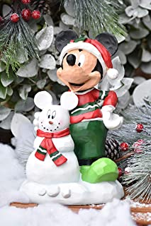 The Galway Company Disney Mickey Mouse Building a Snowman, Outdoor Garden Statue, Classic Disney Collection, Large 11 Inches Tall x 7 Inches Wide, Hand-Painted, Official Disney Licensed Product