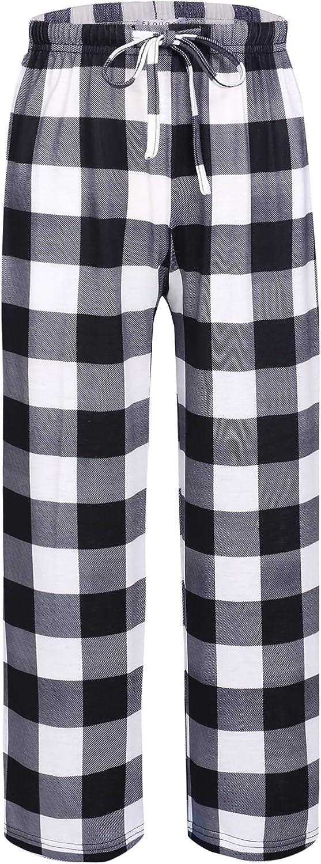 Ekouaer Boys Pajama Pants Long Sleep Pants Soft Elastic Waist Pajama Bottoms Plaid Lounge Pants with 2 Pockets
