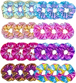 MOLYHUA Hair Scrunchies for Girls, 24 Pcs Shiny Scrunchies Metallic Hair Tie for Women