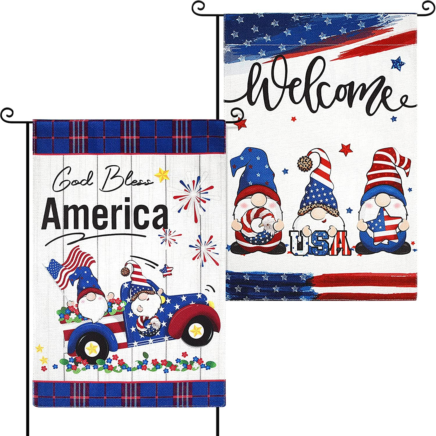 Patriotic Gnomes Welcome Garden Flag American Truck Strip and Star Flag 4th of July Independence Day Double Sided Yard Flag Outdoor Flag for Outside Holiday Home Decoration, 18 x 12 Inches