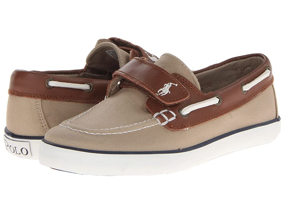 Polo Ralph Lauren Kids Sander-CL EZ (Little Kid) (Khaki Canvas/Tan Leather) Boys Shoes