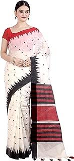 Chandrakala Women's White Cotton Banarasi Saree,Free Size(1304WHI)
