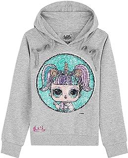 L.O.L. Surprise ! Sweat Capuche Fille avec Poupées LOL Kitty Queen et Unicorn en Paillettes Réversibles, Sweat-Shirt Manch...