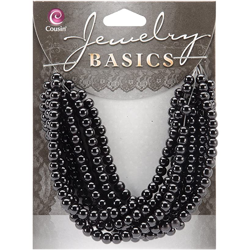 Cousin Jewelry Basics 300-Piece 4mm Round Bead, Black Opaque