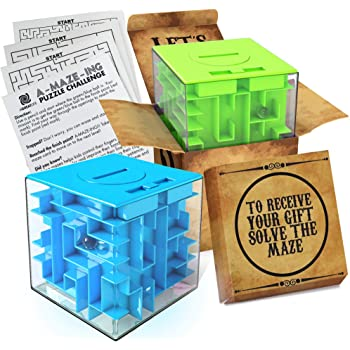 2 Pack Money Puzzle Gift Boxes | Two Cool Cube Shaped Puzzle Money Holder Maze | Challenging and Unique Mystery Puzzle Box - Money Maze for Cash and Mini Maze Cards - by aGreatLife