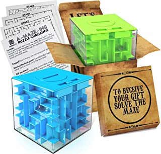 2 Pack Money Puzzle Gift Boxes | Two Cool Cube Shaped Puzzle Money Holder Maze | Challenging and Unique Mystery Puzzle Box...