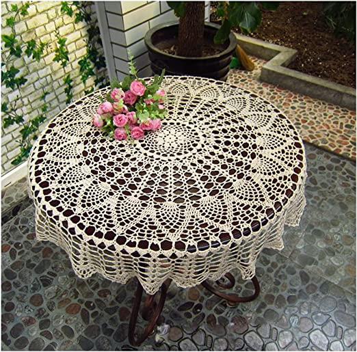 100x200 cm New Vintage style linen tablecloth with handmade crocheted lace at each end Softened 100/% natural flax home accessory
