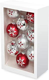 Costyleen Christmas Decoration Colorful Glass Balls Ornaments Set Festival Home Party Decors Xmas Tree Hanging Pendant Sno...