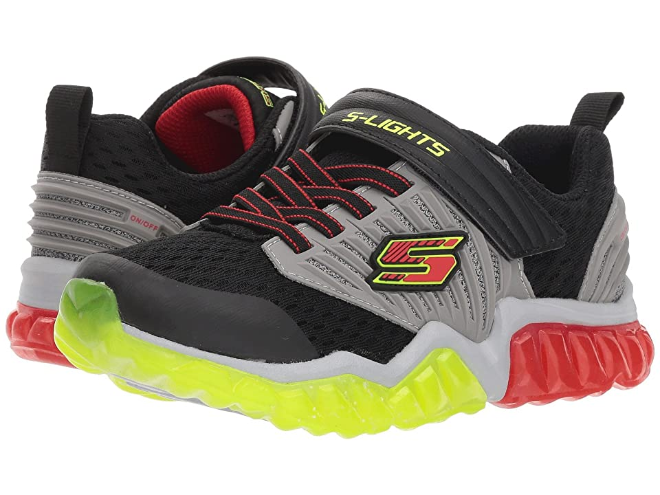 SKECHERS KIDS Rapid Flash 90720L Lights (Little Kid/Big Kid) (Black/Gray/Red) Boy