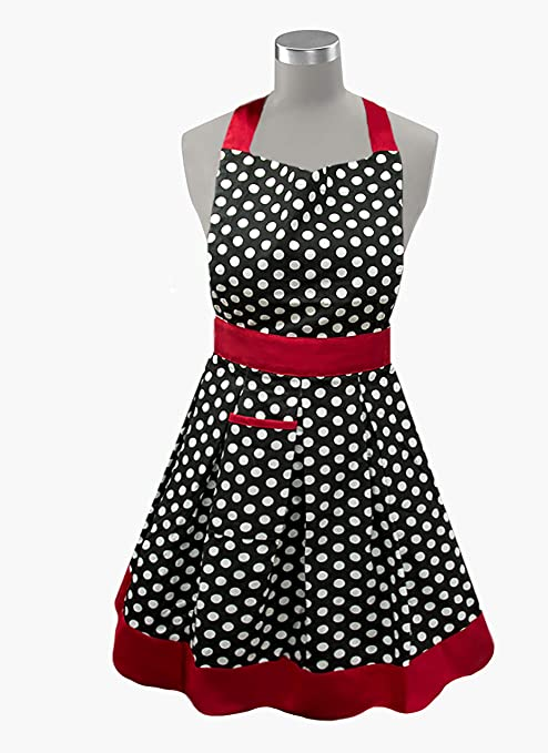 Ladies Full Apron Purple with Off White Polkadots Cotton Print Fabric   Free Shipping