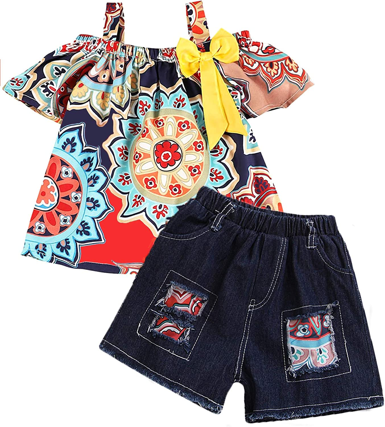Spring new work Toddler Baby Girls Clothes Flower + Pants Popular brand in the world Tops Jeans Short