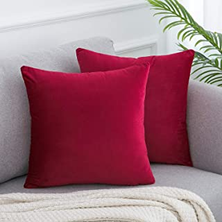 WLNUI Set of 2 Soft Velvet Solid Burgundy Christmas Decorative Square Throw Pillow Covers Set Cushion Case for Sofa Couch Home Decor 18x18 Inch 45x45 cm