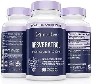 Resveratrol 1200mg Maximum Strength Supplement - Trans Resveratrol Natural Antioxidant to Support Immune, Heart, Weight Loss & Brain Health - Trans-Resveratrol Pills for Anti-Aging 60 Veggie Capsules