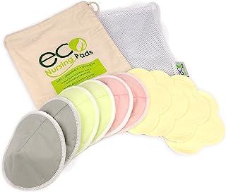 Contoured Washable Reusable Bamboo Nursing Pads | Organic Bamboo Breastfeeding Pads, Ultra-Soft Velvet Flower Pads | 10 Pa...