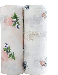 Carebabyworld Baby Swaddle Blankets Large Unisex Muslin Swaddling Blanket 47x47 (2 Pack) Floral Swaddle Wrap Nursing Cover & Burping Cloth (Color 1)