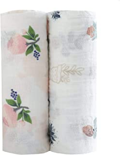 Baby Swaddle Blankets Large Unisex Muslin Swaddling Blanket 47x47 (2 pack) Floral Swaddle Wrap Nursing Cover & Burping Cloth