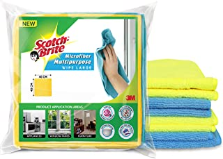 Scotch-Brite Microfiber Cloth/Wipe for Home, Kitchen, Appliance, Car cleaning pack of 4 pcs (40 cm x 40 cm, 340 GSM) ,Mult...
