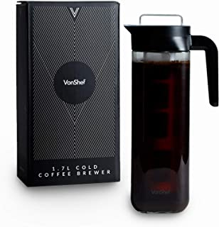 VonShef Cold Coffee Brewer Maker 60oz / 1.7L - Iced Coffee/Jug/Bottle with Filter - Iced Tea Infuser - Glass Pitcher/Carafe - Non-BPA - Removable/Reusable Mesh Filter