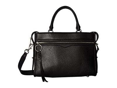 Rebecca Minkoff Bedford Zip Satchel (Black) Satchel Handbags