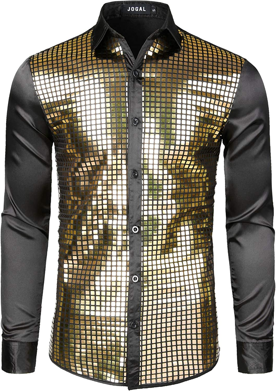Mens Vintage Shirts – Casual, Dress, T-shirts, Polos JOGAL Mens 70s Disco Costume Silver Sequins Long Sleeve Button Down Shirts $28.99 AT vintagedancer.com