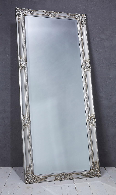 Wholesaler GmbH Wandspiegel Spiegel Silber ca. 180 x 80 cm Antik Stil Barock mit Facettenschliff - XL Ankleidespiegel Ganzkrperspiegel Garderobenspiegel Holzrahmen