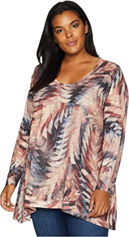 Plus Size Arrow Print Long Sleeve Tunic