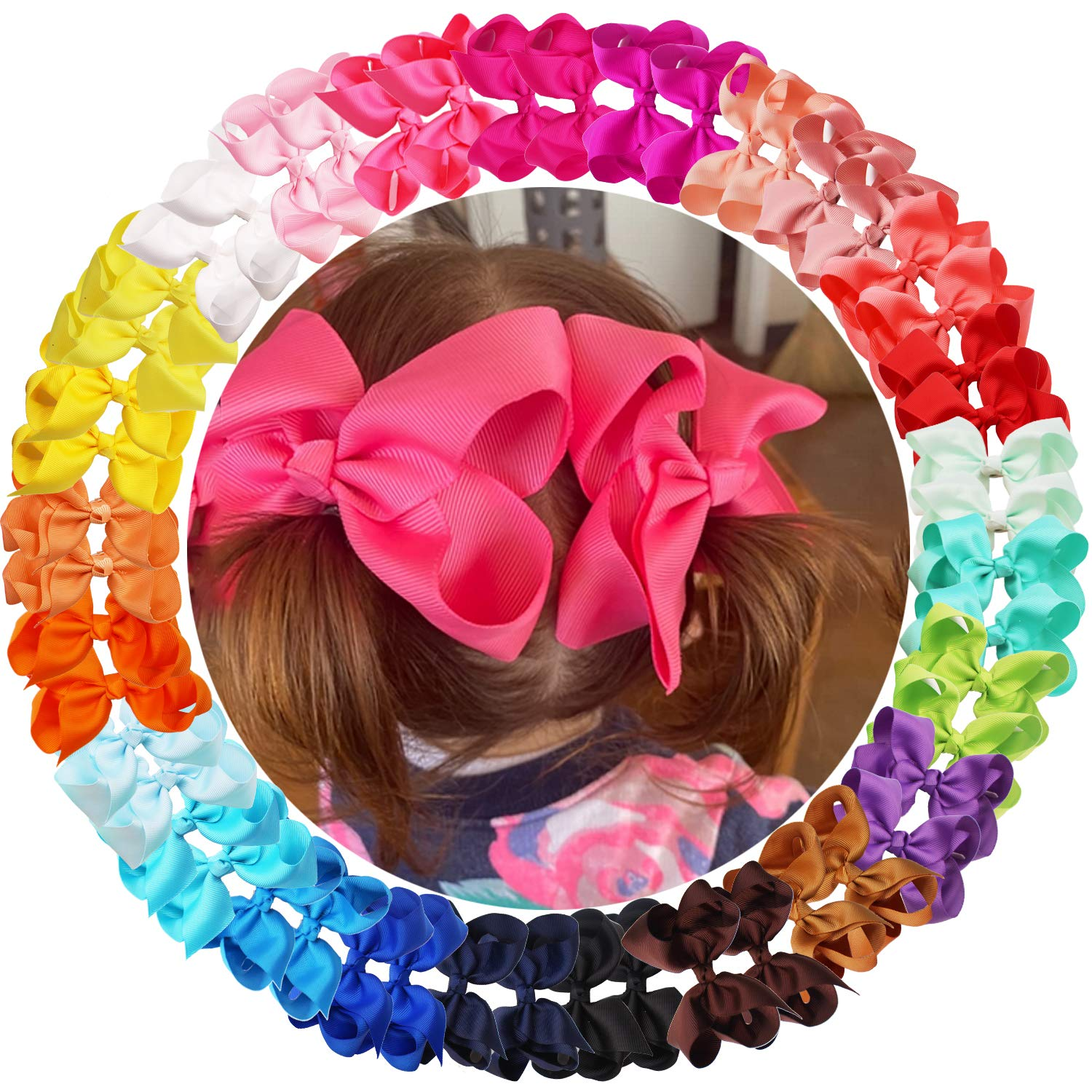 50PCS Baby Girls Hair Now on sale Clips 4.5Inch Bows Ribbon New Free Shipping Grosgrain A
