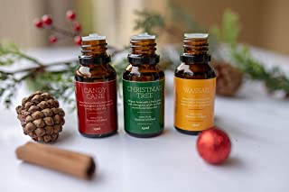 Holiday Essential Oil Blend Kit | Christmas Tree 15mL, Candy Cane 15mL and Wassail 15mL | | Full-Strength Blends Perfect for Diffusing
