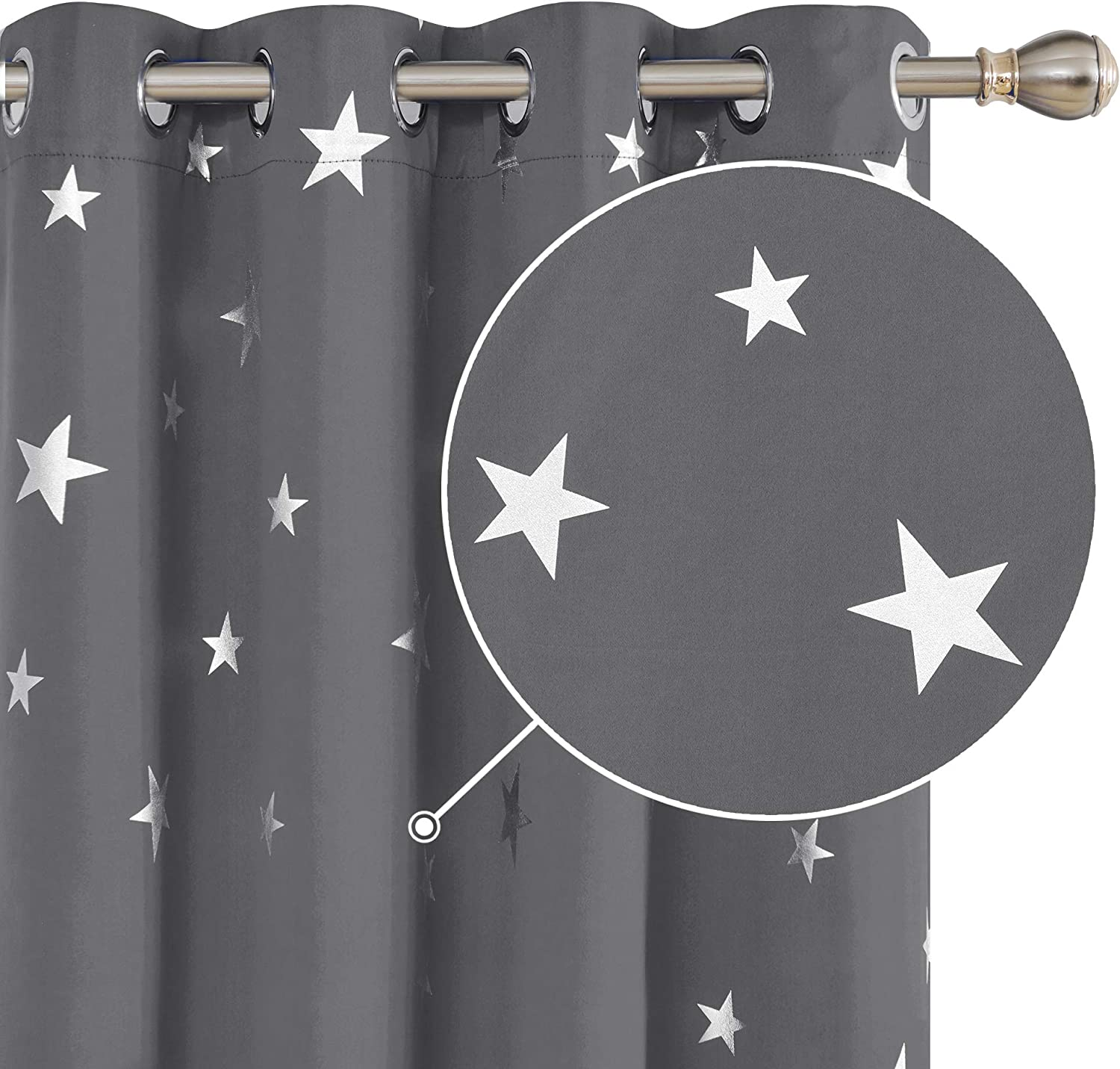 """Deconovo Curtains for Living Room Silver Star Foil Printed Thermal Insulated Curtains Eyelet Blackout Curtains Bedroom Grey 46 x 54 Inch 1 Pair 2x W46""""x L54"""" Grey"""