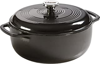 Lodge Enameled Dutch Oven, 6 Qt, Midnight Chrome