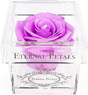 A 100% Real Rose That Lasts A Year - White Gold Solo with Swarovski Crystal (Lilac)