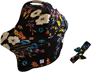 100% Organic Bamboo Nursing Cover and Free Matching Bow - Best Multi-Use Cover for Sensitive Skin, Car Seat Canopy, and Gifting. (Black Floral)