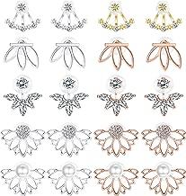 LOLIAS 10-12 Pairs Lotus Stud Earrings Set Ear Jacket for Women Girls Multiple Dainty Ear Crawler Boho Chic CZ Cuff Earring Jewelry