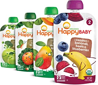 Happy Baby Organic Stage 2 Baby Food Simple Combos Variety Pack, 4 Ounce Pouch (Pack of 16), Assorted Flavors, Flavors May...