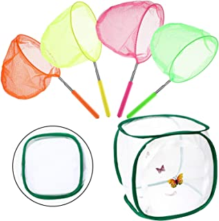 Boao 4 Pieces Butterfly Catching Net Telescopic Butterfly Net Extendable Fishing Net and Foldable Butterfly Habitat Cage f...